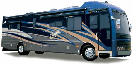 A Fleetwood American Eagle RV that is painted black with gray, blue, and brown swishes.