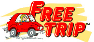 A cartoon red car  running into red letters that spell Free Trip