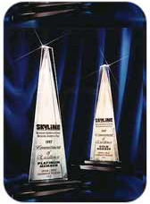Picture of the Arthur Awards that were given to Layton for superior customer satisfaction.