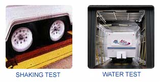 Two Pictures: one of a travel trailer being shaked to test if they are relyable and two a travel trailer being placed in a high pressure rain tunnel to make sure that it is watertight.