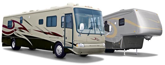 Newmar Mountain Aire motorhome and Kountry Aire fifth wheel painted gray with red, light brown, and dark brown swishes.