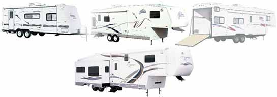 Thor travel trailer, fifth wheel, fifth wheel toy hauler, and a fifth wheeel with slide all painted white with brown, maroon, and blue swishes.